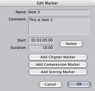 Editing an FCP Marker